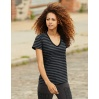 Women´s Fashion Basic Striped V-Neck Tee